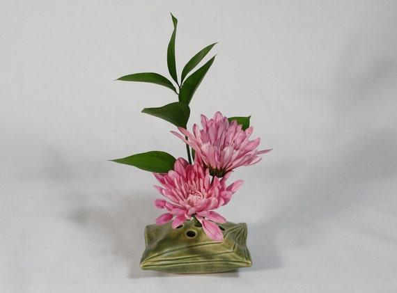 flower frog pillow vase - dark green, carved