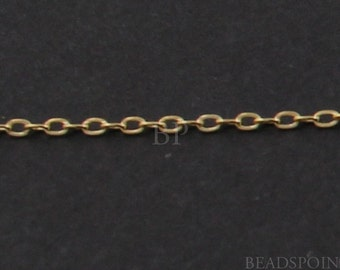 14k Gold Filled Fine Flat Cable Chain, Lightweight Tiny Delicate Elongated Oval Links, Bright Polished 1.5 x 1 mm, GF-1025EF/K (11)