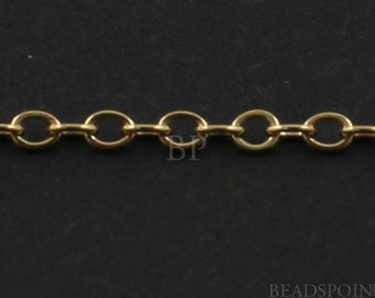 14k Gold Filled Flat Cable Chain, Lightweight Tiny Delicate Flat Oval Links, Bright Polished 2 x 1.5 mm, (GF-1418F) (42)