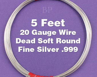 Fine Silver .999 20 Gauge Dead Soft Round Wire on Coil, Pure Silver  Wrapping Wire (5 FEET)