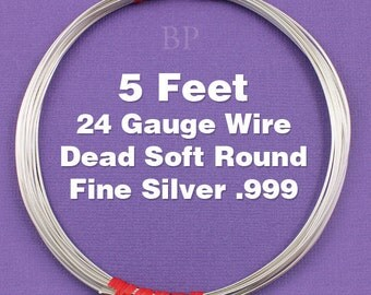 Fine Silver .999 24 Gauge Dead Soft Round Wire on Coil, Pure Silver  Wrapping Wire (5 FEET)