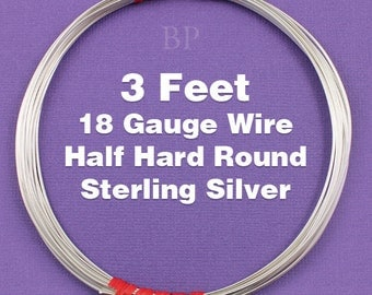 Sterling Silver  .925 18 Gauge Half Hard Round Wire on Coil,  Wrapping Wire (3 FEET)