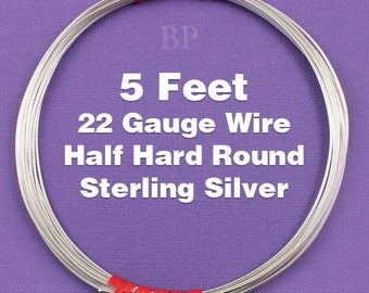 Sterling Silver  .925 22 Gauge Half Hard Round Wire on Coil,  Wrapping Wire (5 FEET)