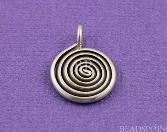 Fine Silver (.999) Thai Hill Tribe Handmade Flat 12mm Round Coiled Spiral Swirl Charm/Pendant, Double-Sided, Lightly Oxidized,( 2 PCS)HT8072