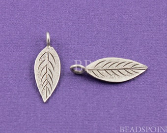 Fine Silver (.999) Thai Hill Tribe Handmade Flat Leaf Shaped Charm / Pendant, Textured Line Pattern both sides, Lightly Oxidized., ( 3 PCS)