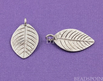 Fine Silver (.999) Thai Hill Tribe Handmade Flat Leaf  Charm / Pendant, Carved Lines both sides, Lightly Oxidized 2 pieces, (HT 8036 (33))