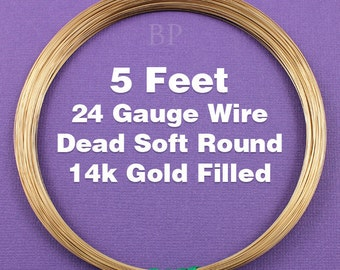 14k Gold Filled, 24 Gauge Dead Soft Round Wire Coil,  Wrapping Wire (5 FEET)