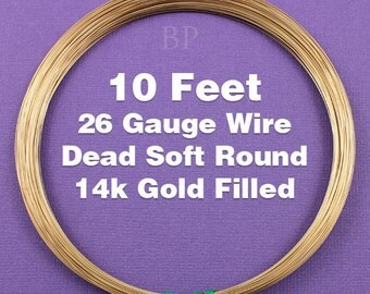 14k Gold Filled, 26 Gauge Dead Soft Round Wire Coil,  Wrapping Wire (10 FEET)