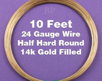 14k Gold Filled, 24 Gauge Half Hard Round Wire Coil,  Wrapping Wire (10 FEET)