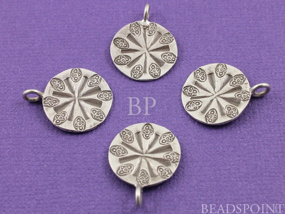 Fine Silver (.999) Thai Hill Tribe Handmade Flat Stamped Pattern Round Charm / Small Pendant, Lightly Oxidized (1 piece), (HT 9015)