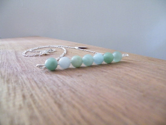 Silver necklace with a line of Amazonite beads