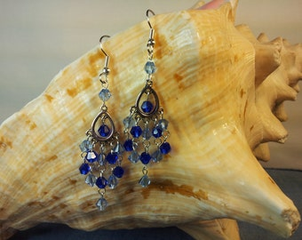 Light blue and cobalt blue crystal earrings.