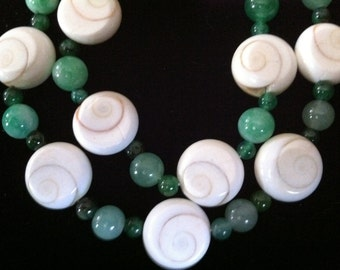 Necklace Antique Lucky Jade & Protective Eye of Shiva Shell Necklace