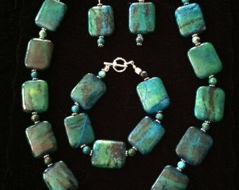 Chunky Turquoise Necklace, Bracelet & FREE Earrings Set