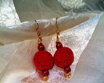 Hand Carved Cinnabar Flower & Red Pearl Prosperity Earrings