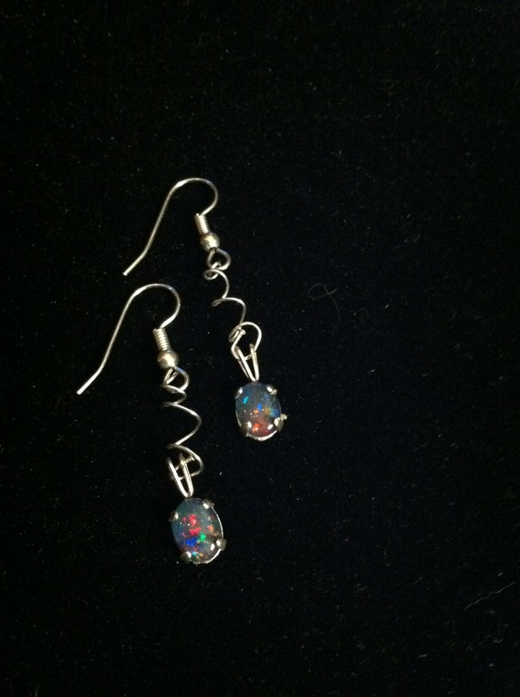 REDUCED Fiery Black Opal Earrings