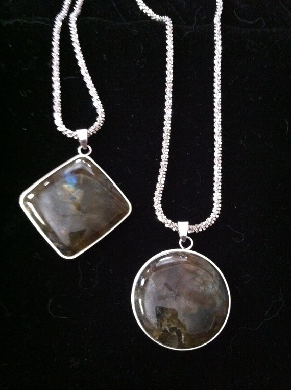 Large & Luminous Labradorite Pendants on Sterling Silver Rock Chains