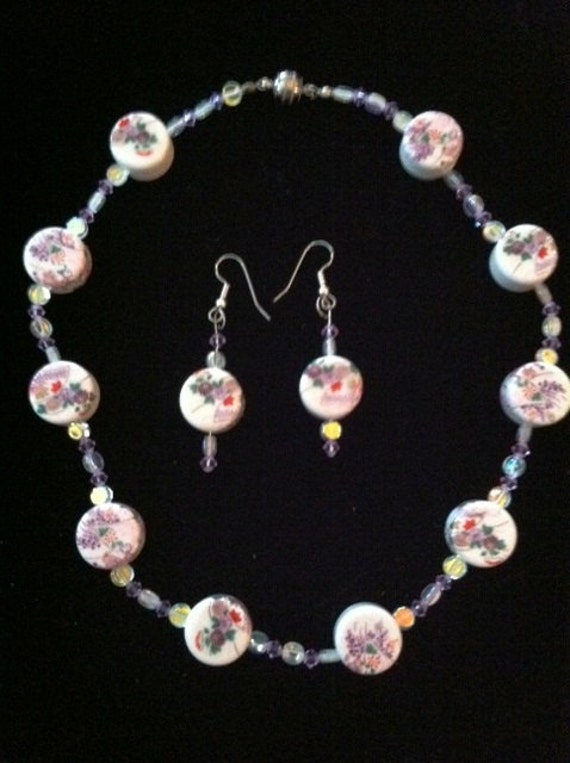 Trade Winds Moonstone Necklace Earrings Set Exotic Handpainted Porcelain