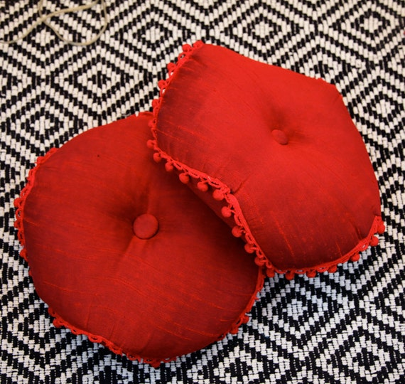 Round Red Decorative Pillows : Set of Two Vintage Round Red Throw Pillows by CaprockVintage