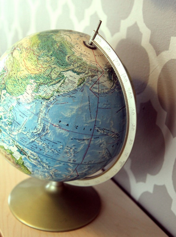 Vintage Rand McNally World Portrait Globe Relief