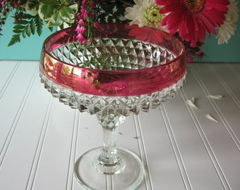 Glass Compote, Indiana Glass, Ruby Diamond Compote, Wedding Decor