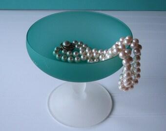 Satin Glass Pedestal Bowl, Candy Dish, Compote, Centerpiece, Wedding Decor,