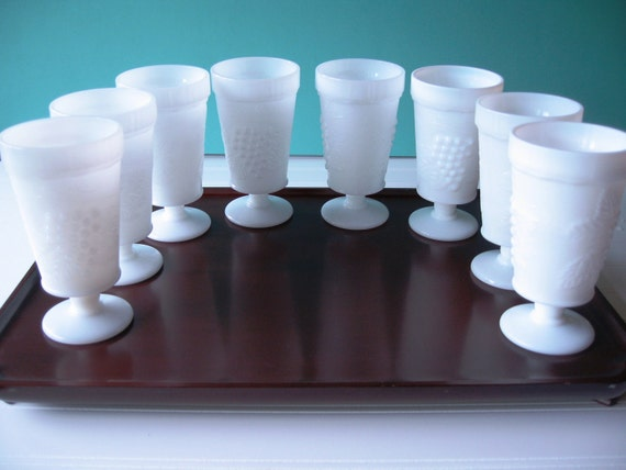 Milk Glass Glasses, Goblets, Milkglass Parfait,  Drinking Glasses, Set of 8 Glasses, Vintage Wedding, Table Setting, Wedding Gift