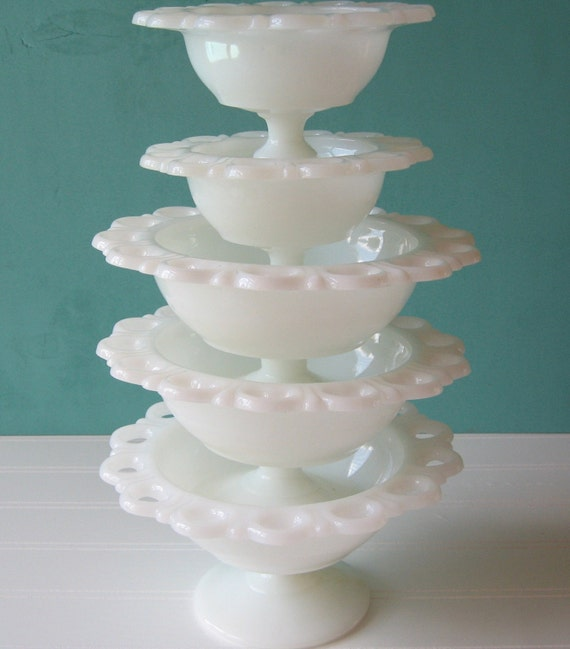 Milk glass Compotes, Wedding table decor,  pedestal bowls, set of Five compotes,  wedding shower,  Bridemaid's gifts