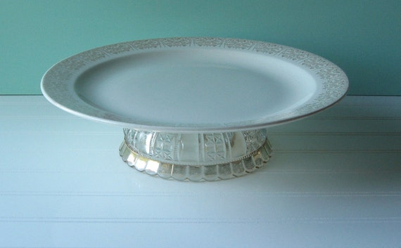 cake plate, cake stand, upcycled, anniversary party,  Vintage Wedding, Table Setting, wedding shower