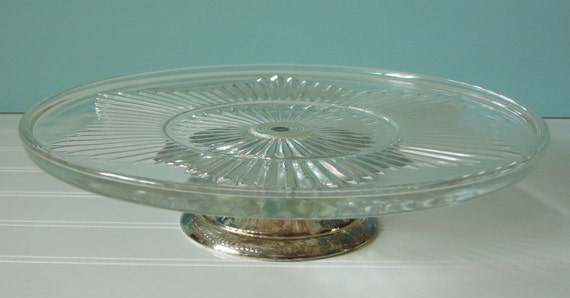 Cake Plate, Cake Stand, Silverplate Pedestal, Pressed Glass, Wedding, Tablesetting