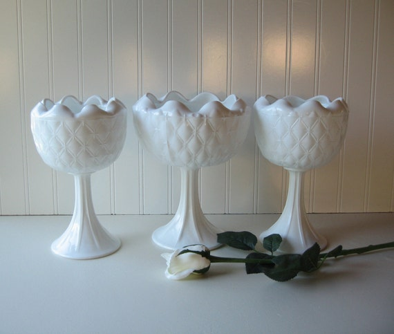 RESERVED FOR MELISSA, Wedding Tablesetting, Milk Glass Compotes, Set of 3, Shabby Chic