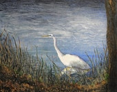Watercolor Art Print - White Heron On The Shenandoah (8x10)