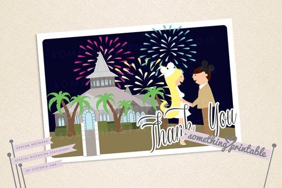 Happy Couple - Printable Cartoon Couple Thank You Card Design - Firework Finale