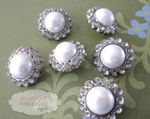6 Vintage Pearl and Clear Rhinestone Buttons