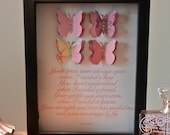 Forever Card, Butterflies with poem, in a Shadow box (personalization available)