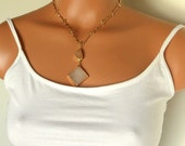Sale-Peach and White Druzy Necklace That Sparkles