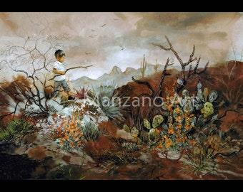 Desert Landscape Southwest Art Childhood Art Print