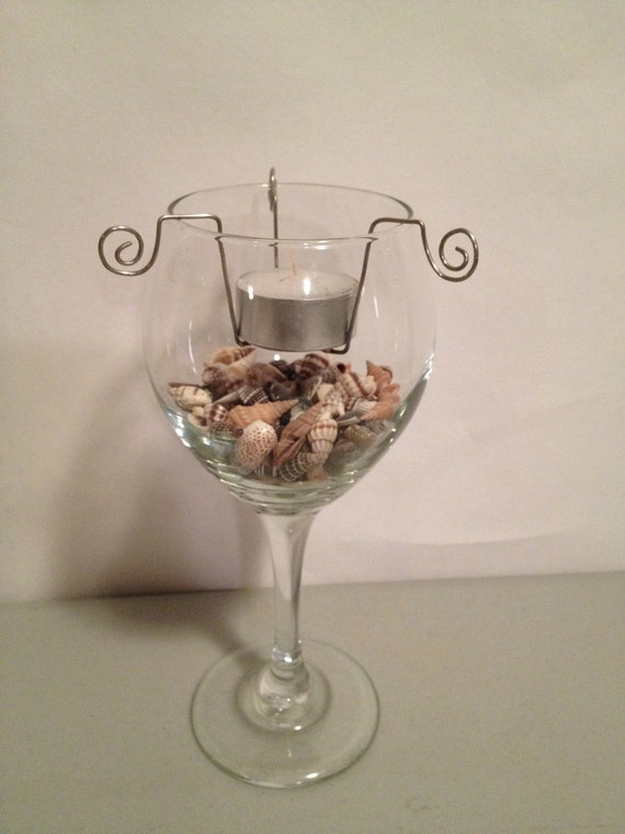 Wine glass tea light candle holder set of 2 by leahparrish on etsy
