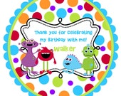 Monster Round Labels Stickers for party favors, gift tags, or address labels