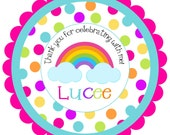Rainbow Round Labels Stickers for party favors, gift tags, or address labels
