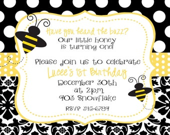 12 Bumble Bee Birthday Party  Invitations with envelopes