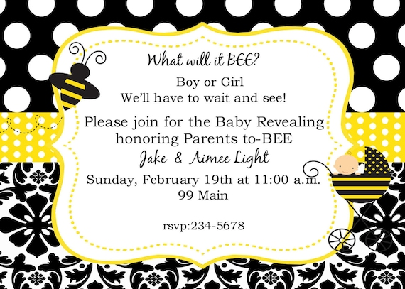 Bumble Bee  Baby  Gender Reveal   Revealment  Party Invitations Digital Printable File