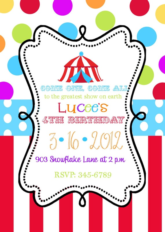 12 Circus Birthday Party  invitations with envelopes