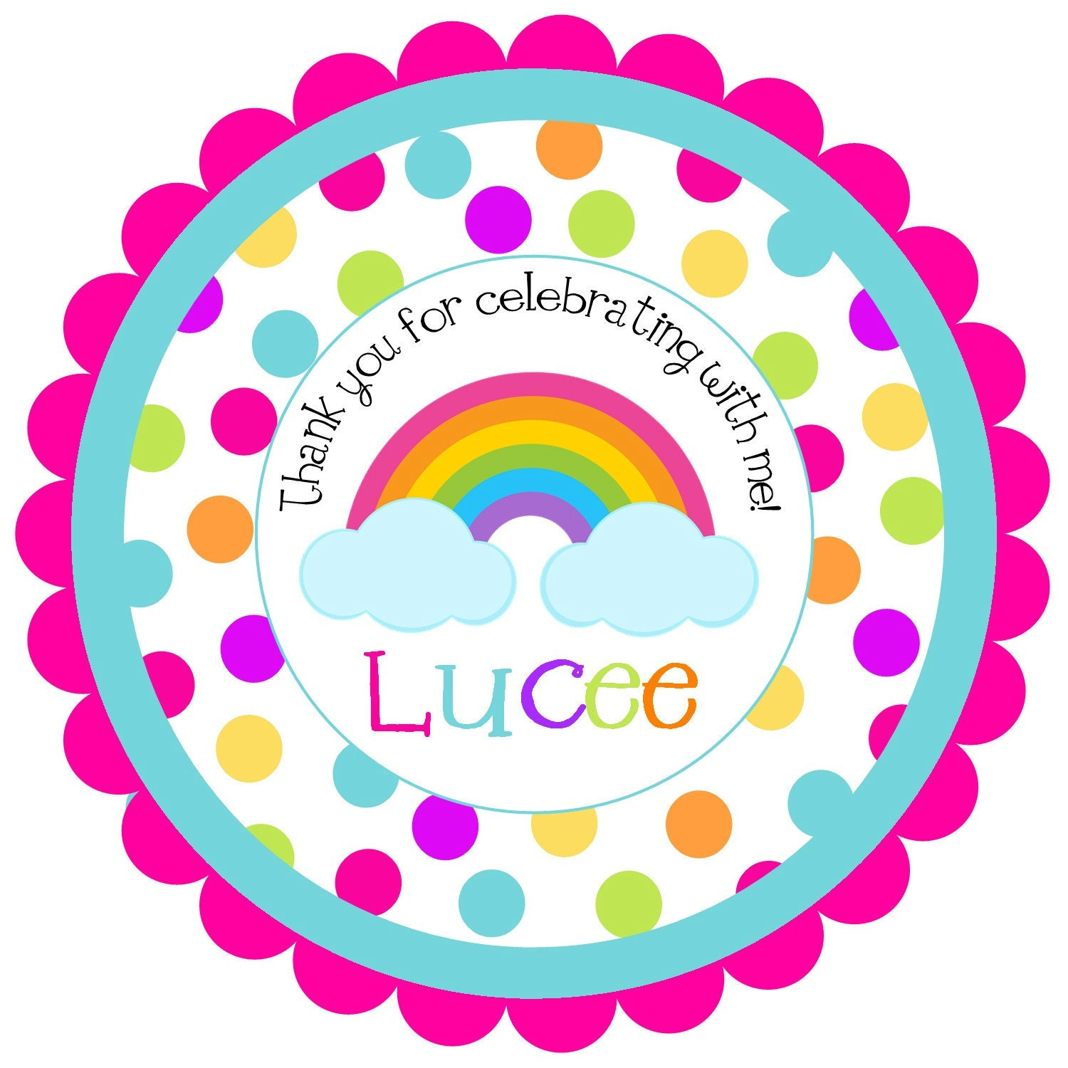 Rainbow Round Labels Stickers For Party Favors Gift Tags Or