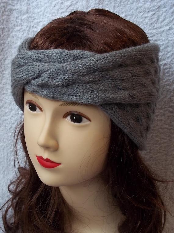 Headband turban in grey wool