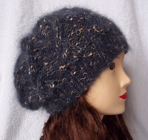 Handmade women's hat knitted in grey mohair ready for shipping, cable hat