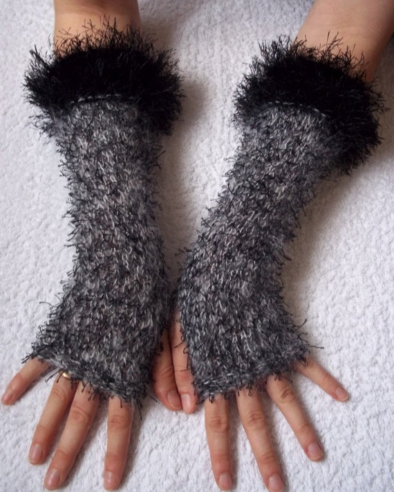 Handknitted mohair fingerless gloves wrist warmers with black furry edge
