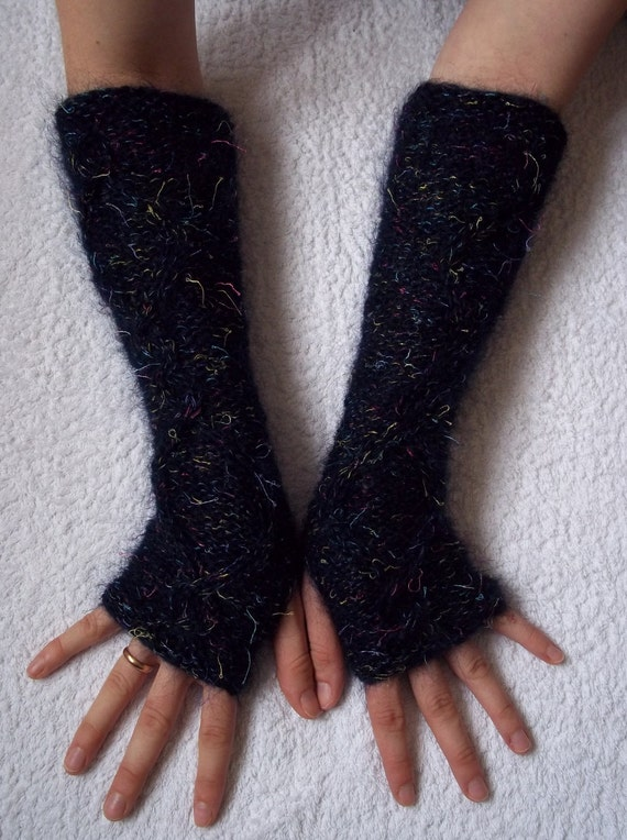 Hand warmers, fingerless gloves, wrist warmers, arm warmers, handwarmers, handmade in dark blue mohair