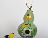 Decorative Gourd Birdhouse, Hand Painted Yellow Daisies, Bottle Gourd