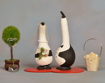 Bride and Groom Gourd Penguins on a Red Wooden Heart